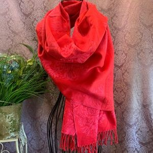 Cecchi e Cecchi Red with Pink Pattern Wool Scarf